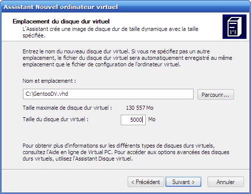 Choix de la taille du disque virtuel