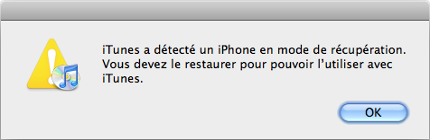 iPhone en mode restauration